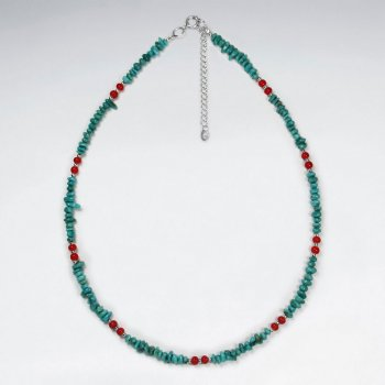"16.5"" Adjustable Beautiful Sterling Silver Necklace With Turquoise Bead Embellishments"