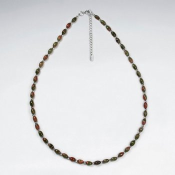 "16.5"" Adjustable Beautiful Unakite Bead Necklace in Sterling Silver"