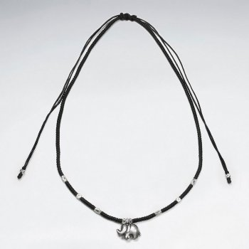 "16.5"" Adjustable Black Macrame Waxed Cotton Necklace With Antique Elephant Silver Charm"