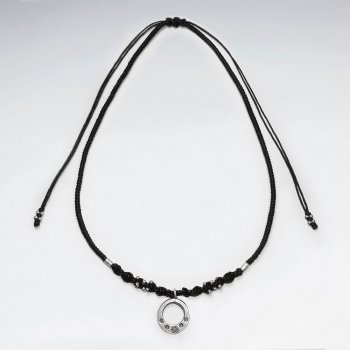 "16.5"" Adjustable Black Macrame Waxed Cotton Necklace With Antique Open Circle Silver Pendant"