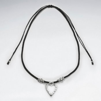 "16.5"" Adjustable Black Macrame Waxed Cotton Necklace With Antique Open Heart Silver Pendant"