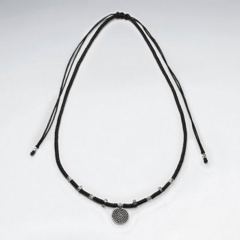 "16.5"" Adjustable Black Macrame Waxed Cotton Necklace With Antique Spiral Silver Pendant"