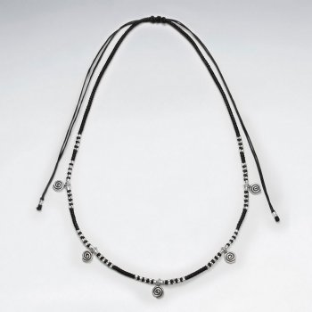 "16.5"" Adjustable Black Macrame Waxed Cotton Necklace With Multi Silver Swirl Pendant Charms and Beads"