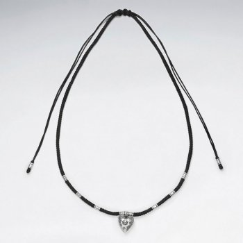 "16.5"" Adjustable Black Macrame Waxed Cotton Necklace With Silver Heart Pendant and Tube Charms"