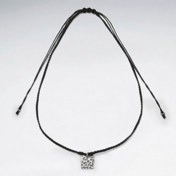 "16.5"" Adjustable Black Macrame Waxed Cotton Necklace With Silver Textured Square Charm"