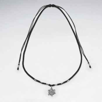 "16.5"" Adjustable Black Macrame Waxed Cotton Necklace With Silver Tube Beads and Sun Charm"