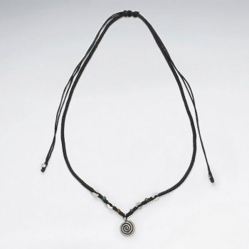 "16.5"" Adjustable Black Macrame Waxed Cotton Necklace With Sterling Silver Swirl Pendant Charm"