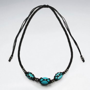 "16.5"" Adjustable Black Macrame Waxed Cotton Necklace With Three Turquoise  Necklace"