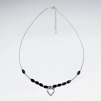 "16.5"" Adjustable Black Stone Studded Sterling Silver Necklace With Open Heart Pendant"