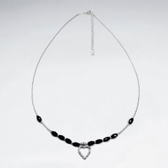 """16.5"""" Adjustable Black Stone Studded Sterling Silver Necklace With Open Heart Pendant"""