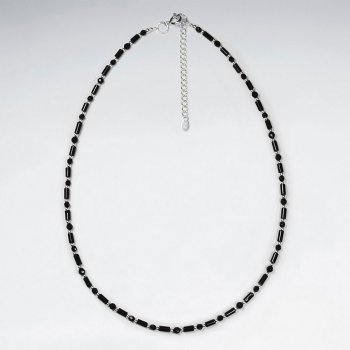 "16.5"" Adjustable Black Stone Tube and Bead Necklace in Sterling Silver"