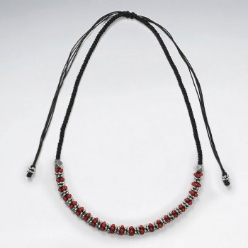 "16.5"" Adjustable Black Waxed Cotton Macrame Necklace With Half Silver and Red Accent Beads"