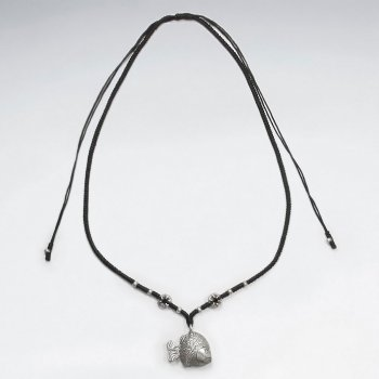 "16.5"" Adjustable Black Waxed Cotton Macrame Necklace With Organic Textured Charms and Accent Silver Beads"