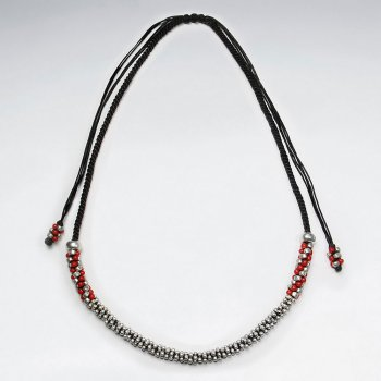 "16.5"" Adjustable Black Waxed Cotton Macrame Necklace With Silver and Red Pattern Beads"