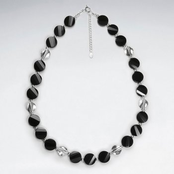 "16.5"" Adjustable Bold Chunky Black Stone Rounded Bead Necklace in Sterling Silver"