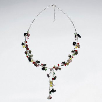 "16.5"" Adjustable Bold Mix Stone Embellished Sterling Silver Necklace"