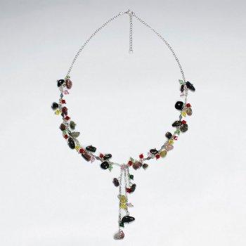 "16.5"" Adjustable Bold Mix Stone Embellished Sterling Silver Necklace"