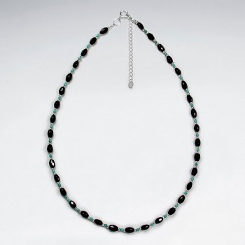 "16.5"" Adjustable Captivating Black Stone and Sterling Silver Necklace"