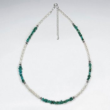 "16.5"" Adjustable Captivating Turquoise and Sterling Silver Necklace"