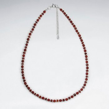 "16.5"" Adjustable Carnelian Bead Necklace in Sterling Silver"
