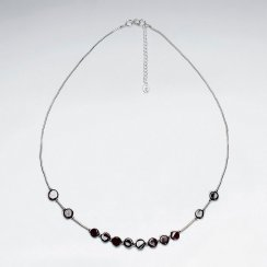 "16.5"" Adjustable Carnelian Bead Necklace in Stunning Sterling Silver"