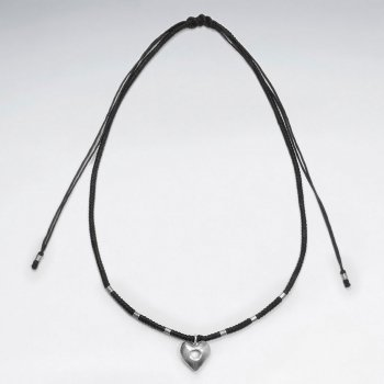 "16.5"" Adjustable Charming Black Macrame Waxed Cotton Necklace With Silver Beads and Sweet Heart Charm"