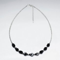 "16.5"" Adjustable Chunky Black Stone Charm Necklace in Sterling Silver"