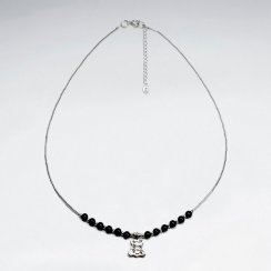 "16.5"" Adjustable Chunky Black Stone Studded Sterling Silver Necklace With Organic Charm"