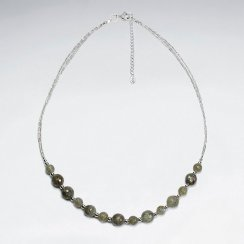 "16.5"" Adjustable Chunky Round Labradorite Bead Necklace in Sterling Silver"
