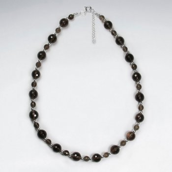 "16.5"" Adjustable Chunky Smoky Quartz Beaded Sterling Silver Necklace"
