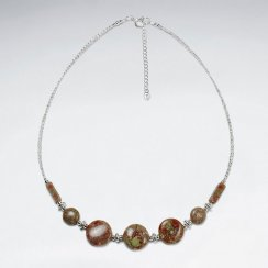 "16.5"" Adjustable Chunky Stone Sterling Silver and Jasper Necklace"
