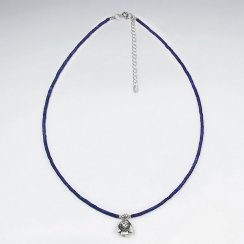 "16.5"" Adjustable Classy Lapis Lazuli in Sterling Silver With Pendant"