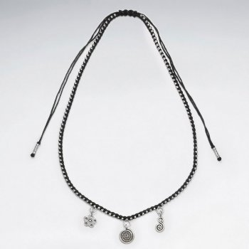 "16.5"" Adjustable Contemporary Black Waxed Cotton Silver Three Charm Flower and Swirls Necklace"