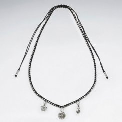 """16.5"""" Adjustable Contemporary Black Waxed Cotton Silver Three Charm Flower and Swirls Necklace"""
