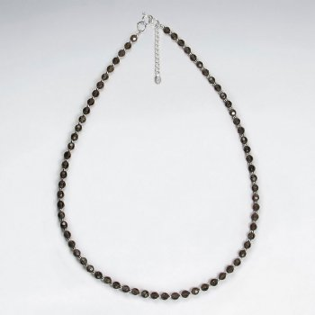 "16.5"" Adjustable Dainty Smoky Quartz Bead Necklace in Sterling Silver"
