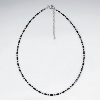 "16.5"" Adjustable Delicate Blue Sandstone Necklace in Beautiful 925 Sterling Silver"