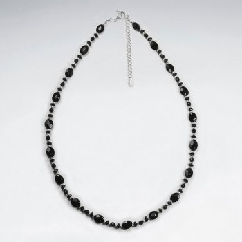 "16.5"" Adjustable Elegant Black Stone and Sterling Silver Necklace"