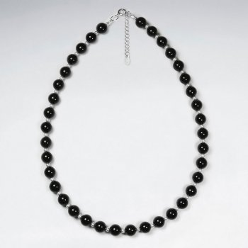 "16.5"" Adjustable Elegant Black Stone Charm Necklace in Sterling Silver"