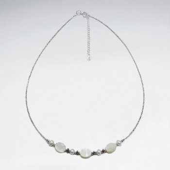"16.5"" Adjustable Elegant Simple Sterling Silver and Shell Bead Necklace"