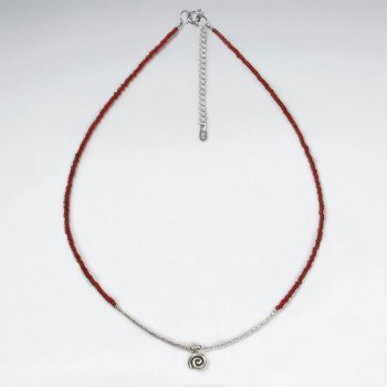 "16.5"" Adjustable Elegant Sterlig Silver Necklace With Bold Red Glass Beads and Rose Flower Charm"