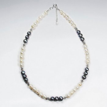"16.5"" Adjustable Elegant White and Black Pearl Pattern Sterling Silver Necklace"