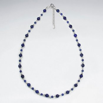 "16.5"" Adjustable Elegantly Stunning Lapis Lazuli and Sterling Silver Clasp Necklace"