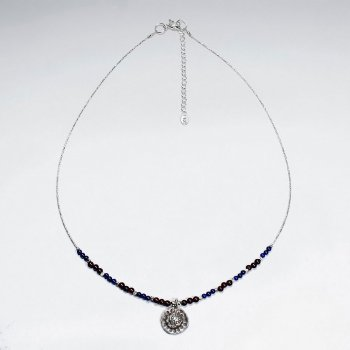 "16.5"" Adjustable Enchanting Lapis Lazuli and Sterling Silver Charm Necklace"