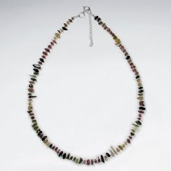 """16.5"""" Adjustable Exotic Tourmaline Bead Necklace in Sterling Silver"""