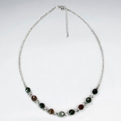 "16.5"" Adjustable Fancy Jasper Spaced Bead Necklace in Brilliant Sterling Silver"