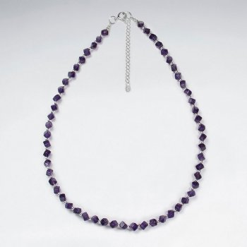 "16.5"" Adjustable Full Amethyst Bead Necklace in Sterling Silver"