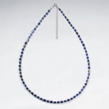 "16.5"" Adjustable Full Lapis Lazuli Beaded Clasp necklace in Sterling Silver"