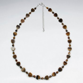 "16.5"" Adjustable Full Tiger Eye Bead Necklace in Sterling Silver"