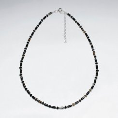 "16.5"" Adjustable Gorgeous Agate Beaded Sterling Silver Necklace"