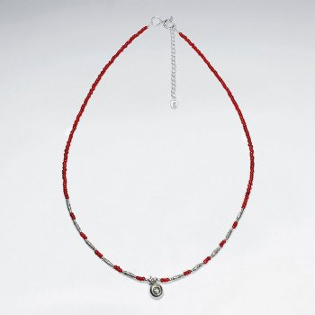 "16.5"" Adjustable Gorgeous Red Glass Bead and Sterling Silver Charm Necklace"